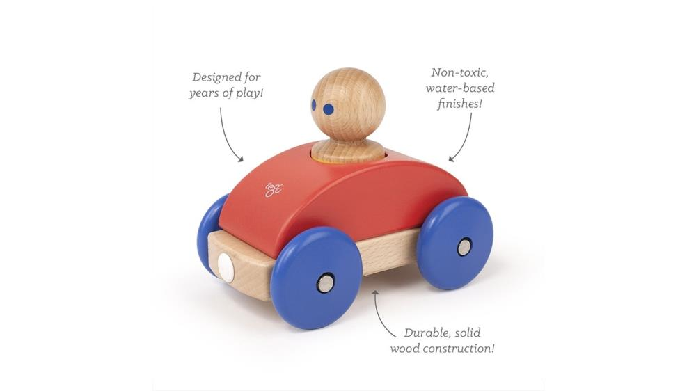 TEGU Drewniane klocki magnetyczne BABY AND TODDLER Wyścigówka Poppy Blue