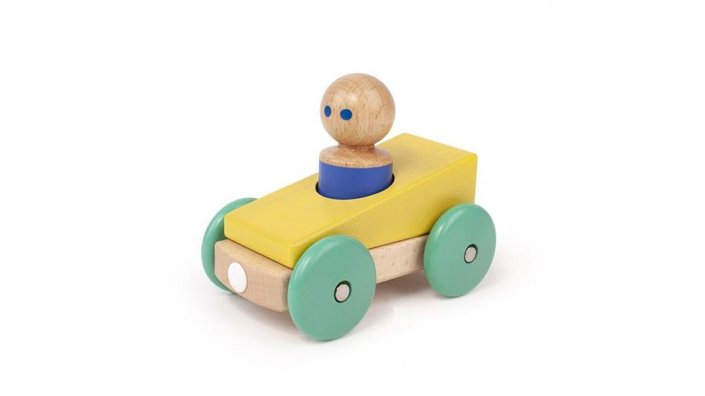 TEGU Drewniane klocki magnetyczne BABY AND TODDLER Wyścigówka Yellow Teal