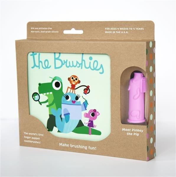 THE BRUSHIES Szczoteczka silikonowa Świnka PINKEY z książeczką PL